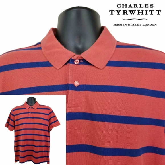 1904c63a0 Charles Tyrwhitt Shirts | Ss Striped Polo Shirt Large L | Poshmark